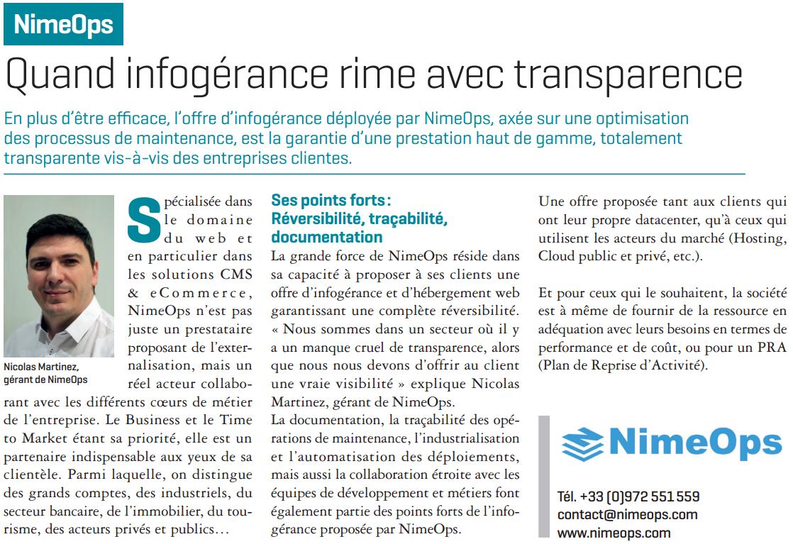Nimeops : Quand l'infogérance rime avec transparence.